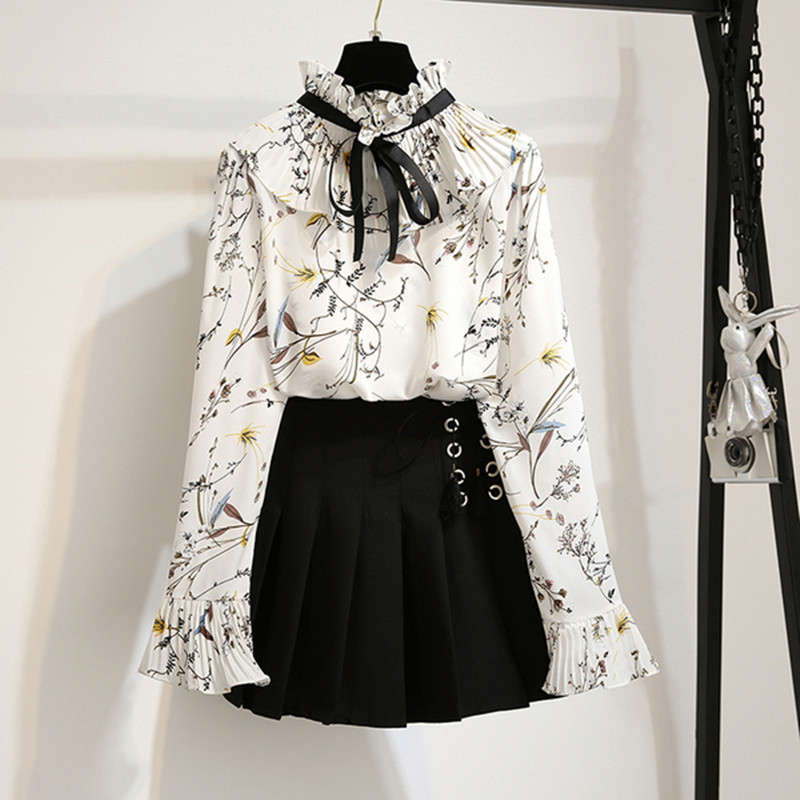 Women 2 Piece Set Ruffles Floral Print Half Turtleneck Chiffon Shirt And Lace Up Pleated Mini Skirt Sets 2019 Autumn New Outfits