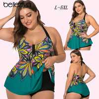 Belleziva Plus Size Womens Halter Swimsuit Plus Size Bikini bottoms One Piece Swimsuit Tankini Set Flower Print Bathing Suits