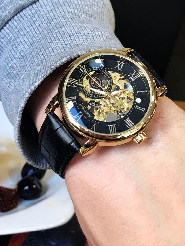 H318ccd9199bc44029d702da2be3259b7a Forsining 3d Logo Design Hollow Engraving Black Gold Case Leather Skeleton Mechanical Watches Men Luxury Brand Heren Horloge