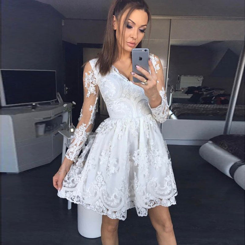 Linglewei New Spring and Summer Women's Dress sexy V-neck Lace Long Sleeve Dress perspective dress