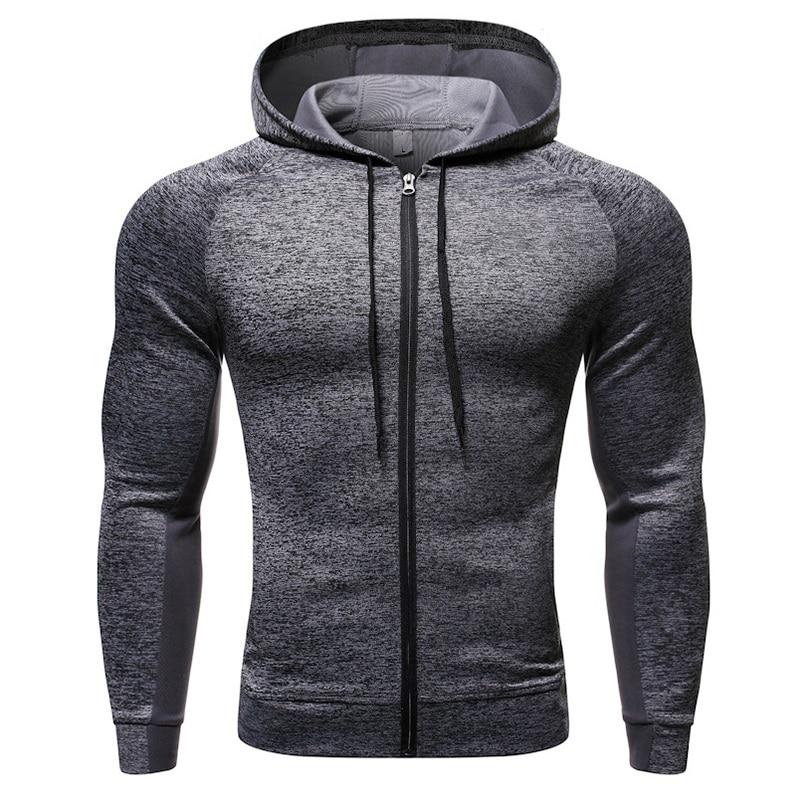 2020 New Mens Fitness Sport Jacket Coat Zipper Hooded Running Jackets Mens Sportswear 2019 Workout Jogging Jacket Hoodies Man