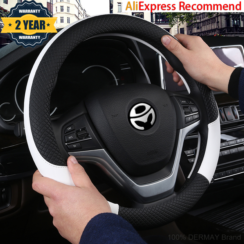 100% DERMAY Brand Leather Universal Car Steering-wheel Cover 37CM-38CM Car-styling Sport Auto Steering Wheel Covers Anti-Slip(China)