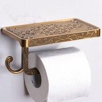Suporte de papel higiênico antigo esculpido liga zinco banheiro suporte do telefone móvel com prateleira do banheiro toalheiro caixas tecido|Racks e prateleiras de armazenamento| |  -