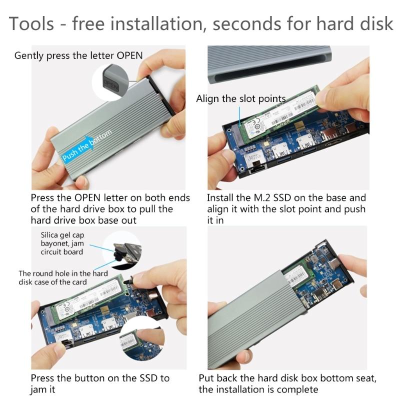 USB C Hub M.2 SSD Enclosure HDMI-Compatible+USB3.1+RJ45+PD Type-C Docking Station for M.2 NVME  SSD 6 in 1 Hub R1WC Wholesalse