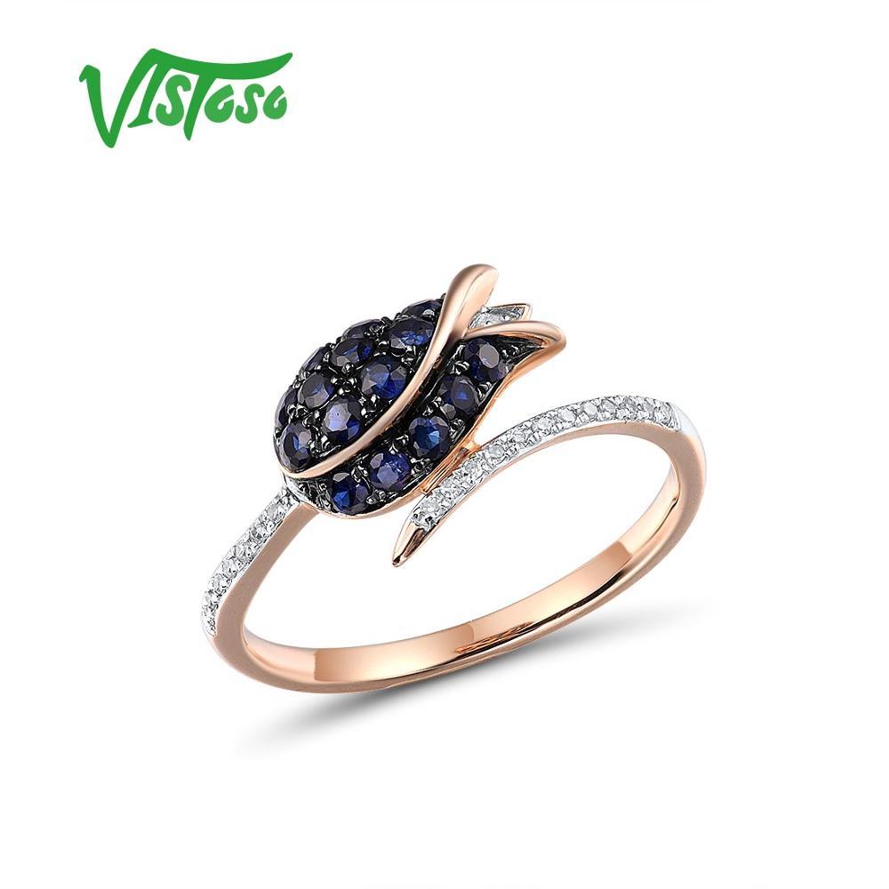 VISTOSO Pure 14K 585 Rose Gold Ring For Women Ring Shining Diamond Blue Sapphire Luxury Wedding Engagement Elegant Fine Jewelry
