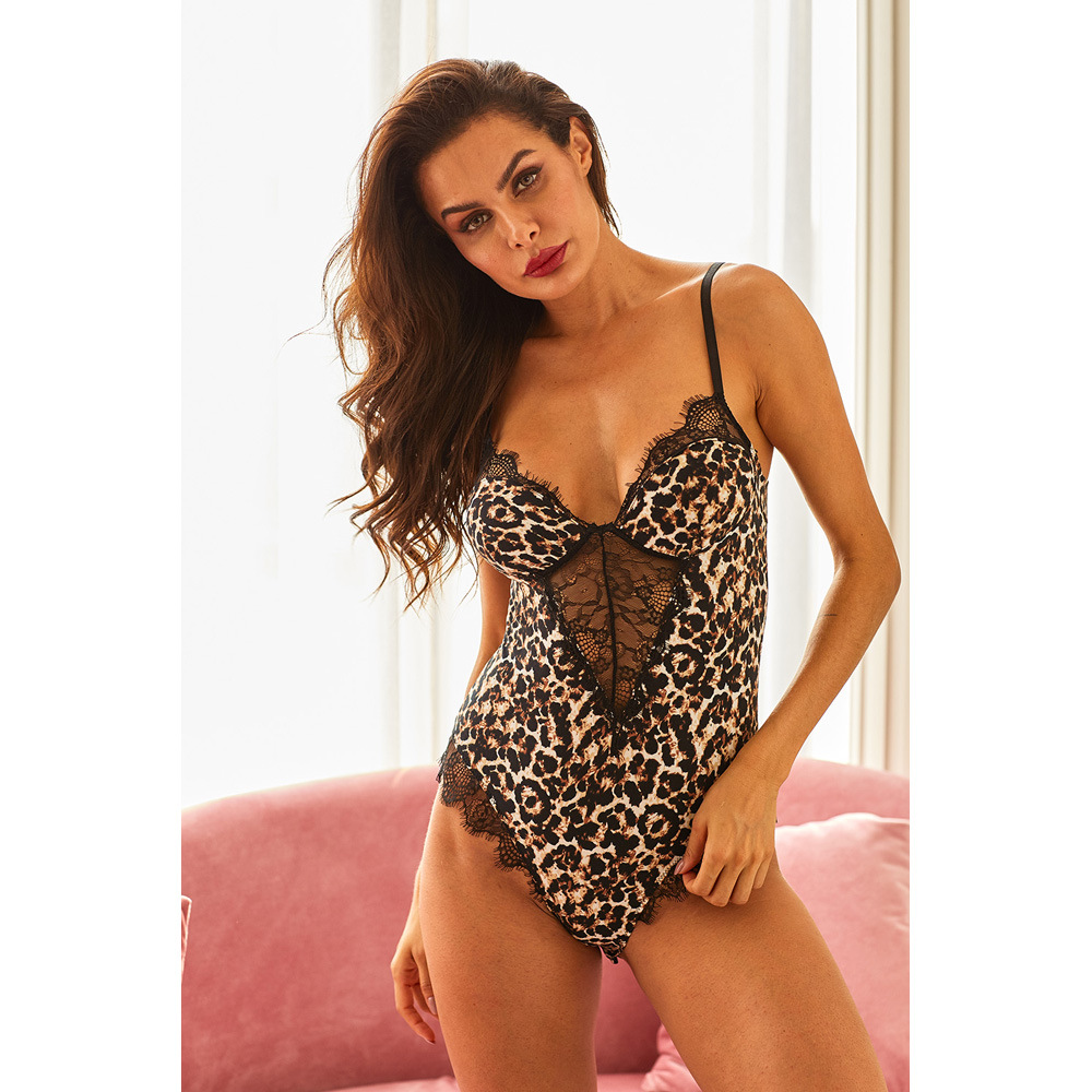 Shi Ying Europe And America Leopord Pattern One-piece Leggings Female Summer Hot Camisole Seamless Sexy Home Pajamas 32410