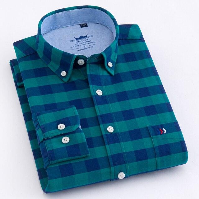 Erkek rahat ekose damalı Oxford pamuk gömlekler tek yama cep uzun kollu standart fit düğme yaka şemsiye gömlek