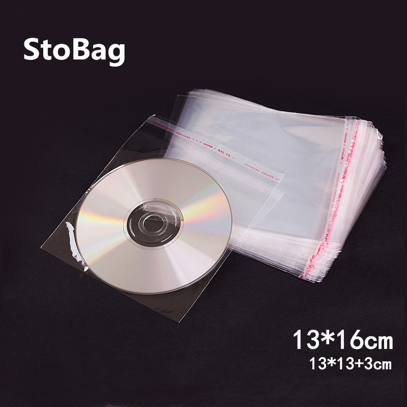 StoBag 200pcs 13*16cm CD Record Plastic Bags Disc Case Holder Storage Plastic Wrap Clear Self Adhesive Cellophane Packaging Bag
