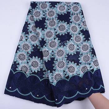 Cotton African Lace Fabric 2019 High Quality Lace Navy Blue Color Swiss Voile Lace In Switzerland Embroidered Nigerian Lace Fabrics For Dress S1728