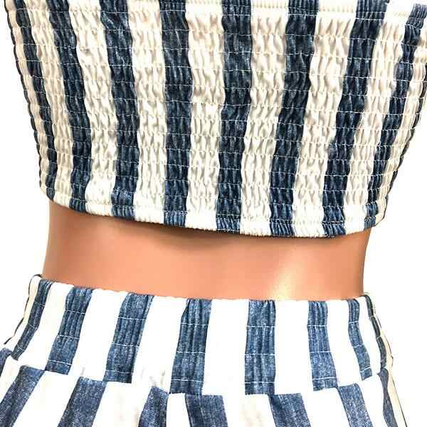 Special Design 2019 New Popular Harajuku Style 2 piece Women Set Striped Ruffle Strapless Belt Long Loose Pants DW419