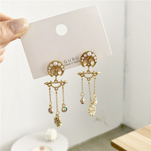 Korean Luxury Baroque star Moon  Crystal Asymmetric pearl bead women earrings indian bohemian  boho earrings цена