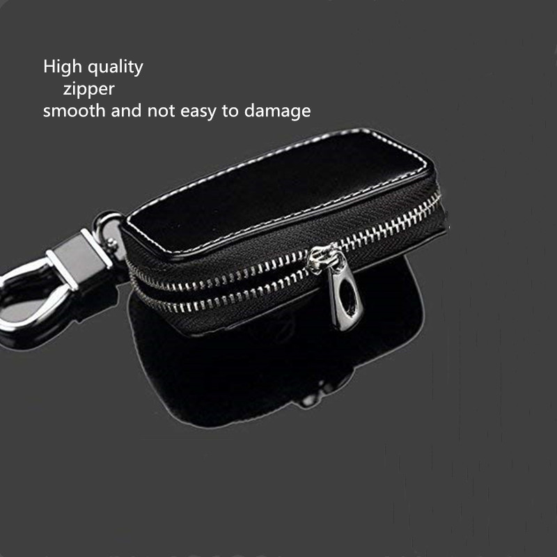 Cview New Car Key Wallet Zipper Case Black Leather Car House Office Key Chain Coin Holder Metal Hook Bag Collection For Jaguar Car Vehicle Auto Lover