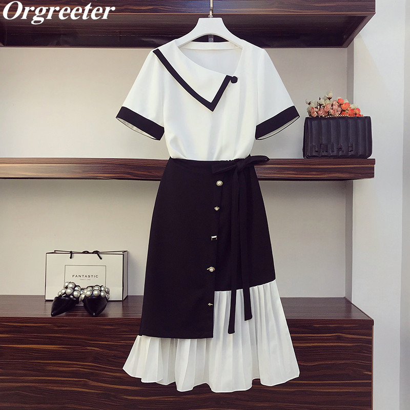 Chic Button Design Irregular Pleated Skirt Two Piece Set Women Summer New Fashion Hit Color Chiffon Shirt And Fishtail Skirt Set