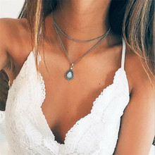 New Fashion Double Horn Necklace Water Drop Pendant Boho Jewelry Minimal Girlfriend Women Gift