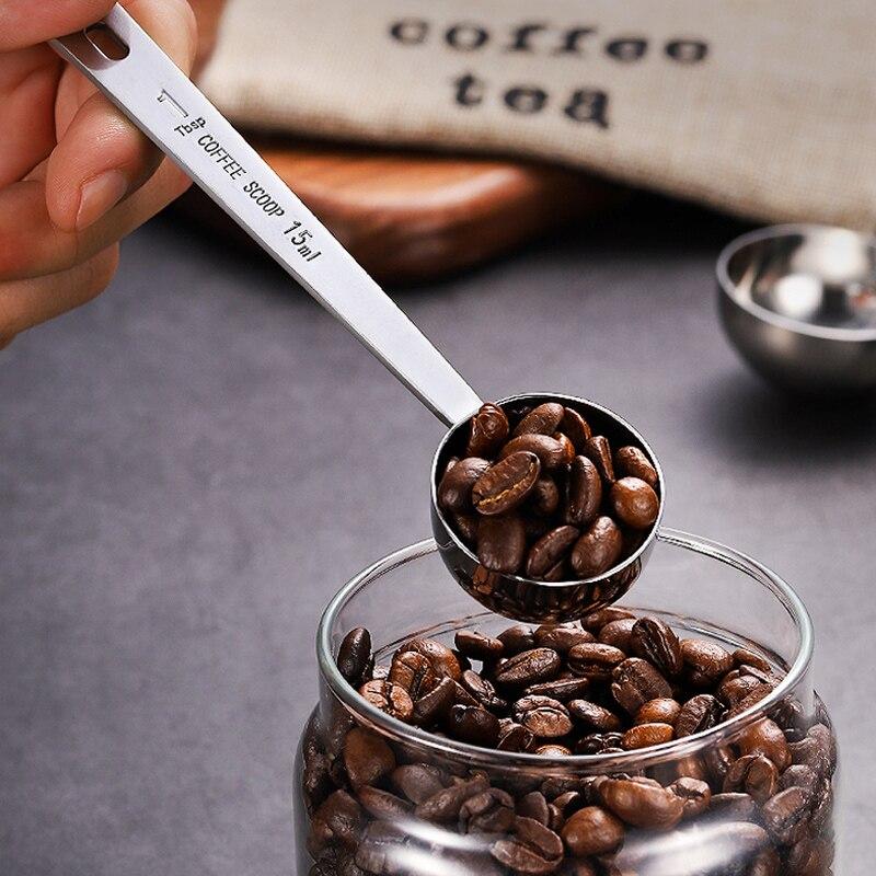 Colher de café longo de aço inoxidável, 15ml 30ml colher de café de metal para medição de açúcar em pó acessórios