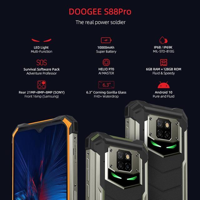 IP68/IP69K DOOGEE S88 Pro Rugged Mobile Phone 10000mAh telephones Helio P70 Octa Core 6GB RAM 128GB ROM smartphone Android 10 OS 2