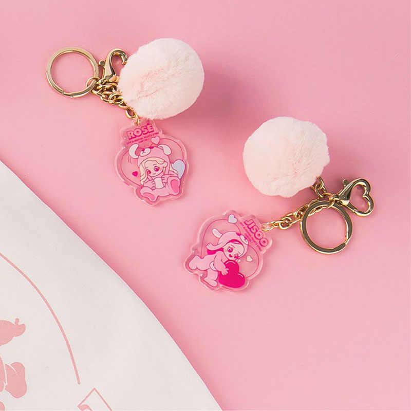 Kpop Blackpink Portachiavi Kawaii Q Versione Portachiavi Pendente Del Sacchetto Accessori Rosa Del Cuore in Acrilico Anello Chiave del Regalo Dei Monili per Ventole
