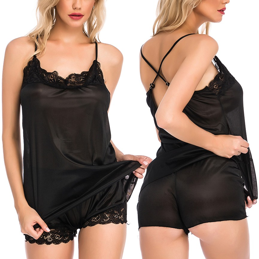 Summer Solid Home Clothes Women's Pajamas Set Perspective Satin Lace Sexy Sleepwear Lingerie Camisole Shorts Pyjamas Sex Nightie