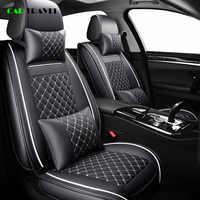 (Avant + arrière) housse de siège de voiture en cuir de luxe 4 saisons pour Volkswagen vw passat b5 b6 b7 polo 4 5 6 7 golf tiguan jetta touareg