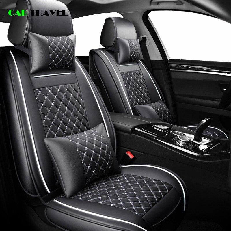 (Frente + Traseira) tampa de assento do carro de luxo de Couro Temporada Para Volkswagen vw passat b5 b6 b7 polo 4 4 5 6 7 golfe jetta tiguan touareg