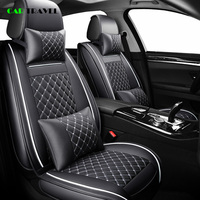 ( Front + Rear ) Luxury Leather car seat cover 4 Season For Volkswagen vw passat b5 b6 b7 polo 4 5 6 7 golf tiguan jetta touareg