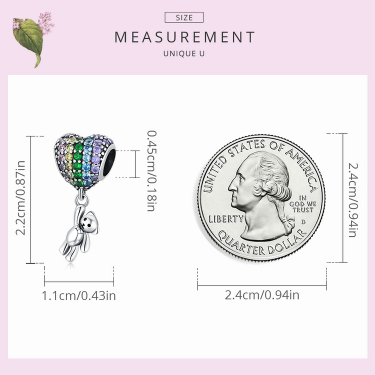 size Luxury Silver Rainbow Heart Blue Crystal Balloon Bear Charm 925 Sterling Silver Pendant for Original Bracelet DIY Jewelry
