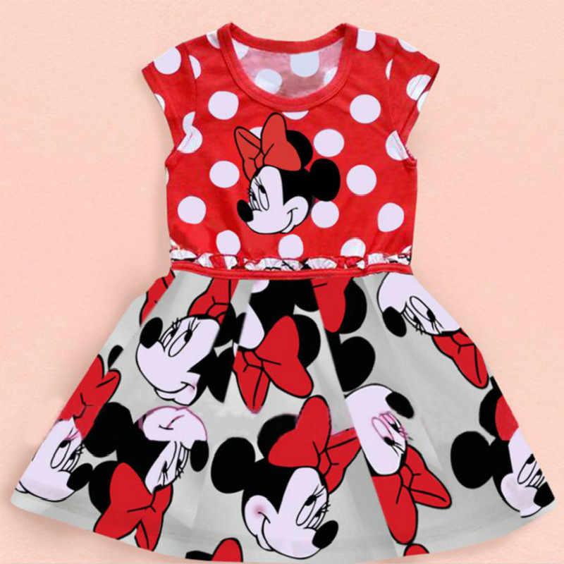 女の赤ちゃんのクリスマスドレス 2020 夏新ミニー漫画ミニー水玉ベビードレス赤ラブリーガールドレス