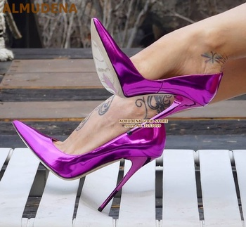 ALMUDENA 12cm Fluorescent Purple Pointed Toe Pumps Stiletto Heels Patent Leather Shallow Dress Shoes Iridescent Wedding Heels bow decorated stiletto pointed toe heels