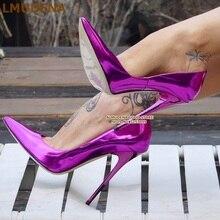 ALMUDENA 12cm Fluorescent Purple Pointed Toe Pumps Stiletto Heels Patent Leather