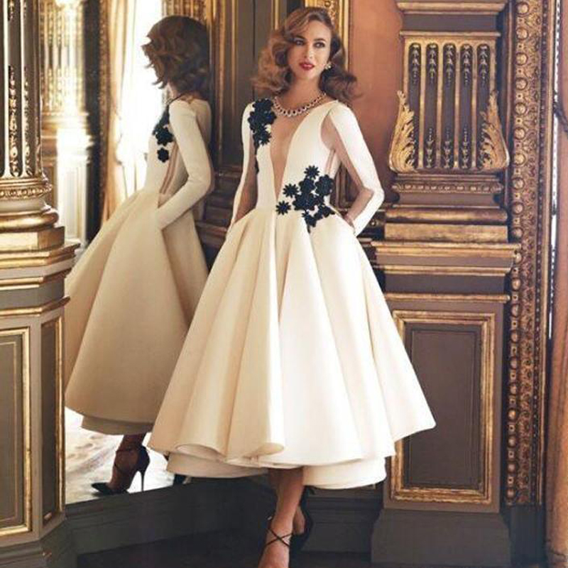 Formal Dress Evening Gown Floral Long Sleeves Illusion Appliques Elegant Attires