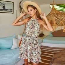 Women floral print dress Elegant slip dress Summer chiffon H