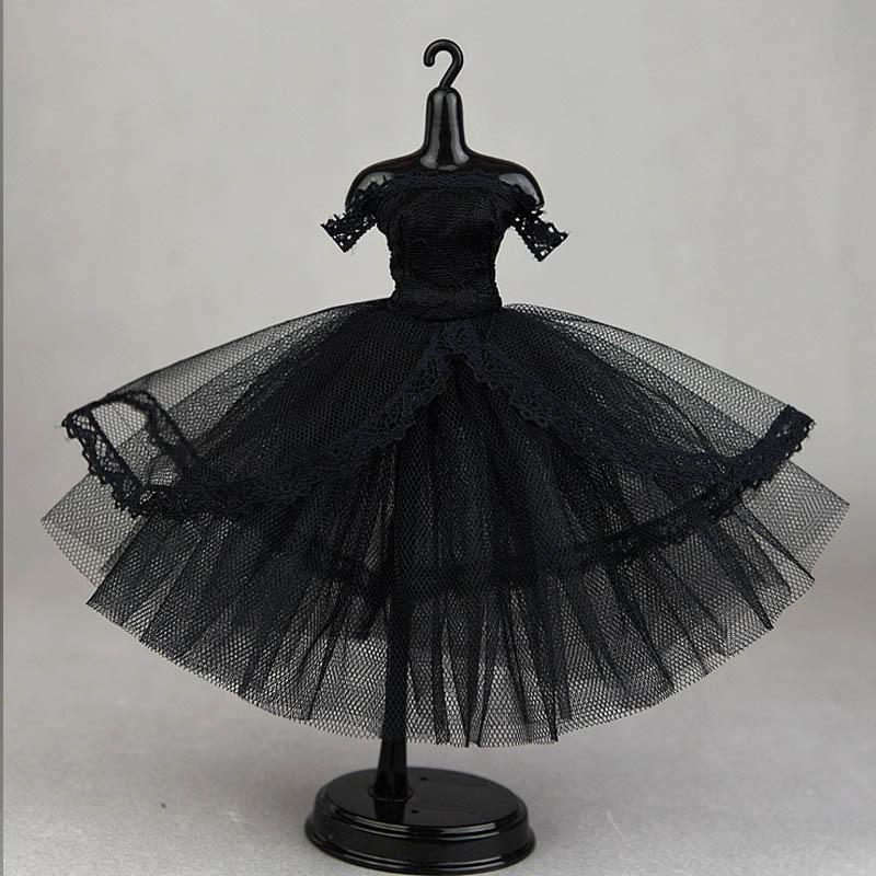 1//6 BJD Costume Off Shoulder Lace Dress for Blythe Dress Up Outfits Black