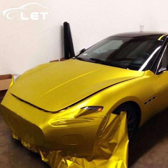 Car Styling Matt Gold Chrome Vinyl Film Car Wraps Sticker Color Changing Car Foil Auto Accessories Car Decal