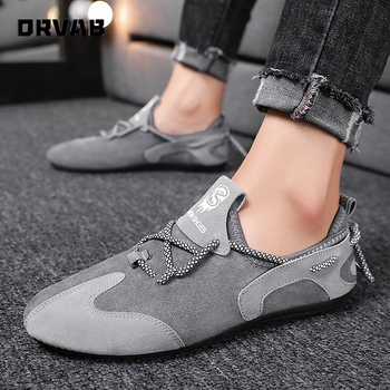 Slip on Shoes Men High Quality Spring Summer Men Casual Shoes Black Gray Flock Fashion