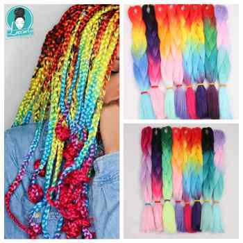Luxury For Braiding Henlon Ombre Two Three Four Tone Color Lilac Olive Green Bubblegum 24inch 60cm Synthetic Jumbo Braids