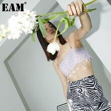 [EAM] Women Glass Bead Metal Chainshort Tank Tops New V-collar Sleeveless Personality Fashion Spring Autumn 2021 1DD4770