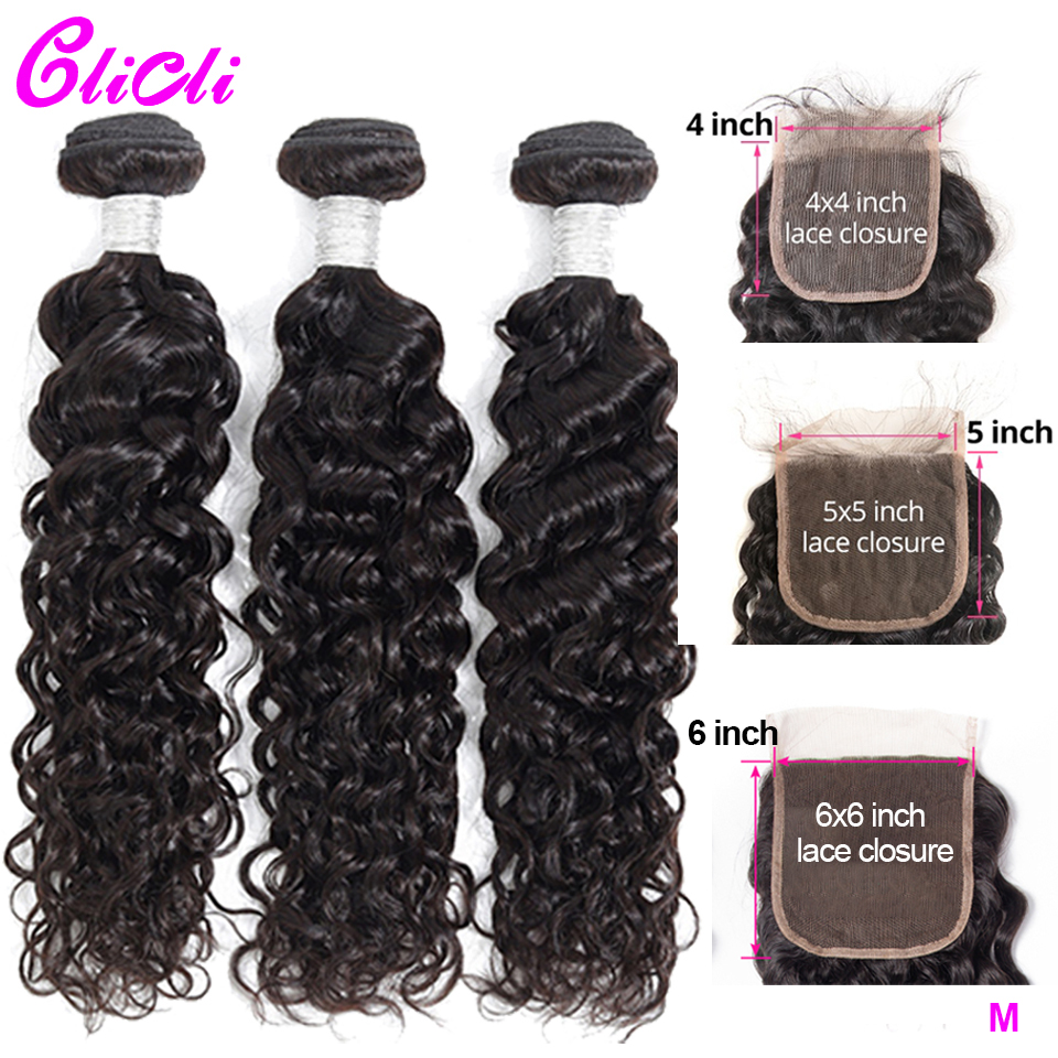Malaysian Hair 3 Bundles With Closure Water Wave Remy Human Hair Weave Bundles With 6x6 5x5 4x4 Lace Closure Pre Plucked Clicli