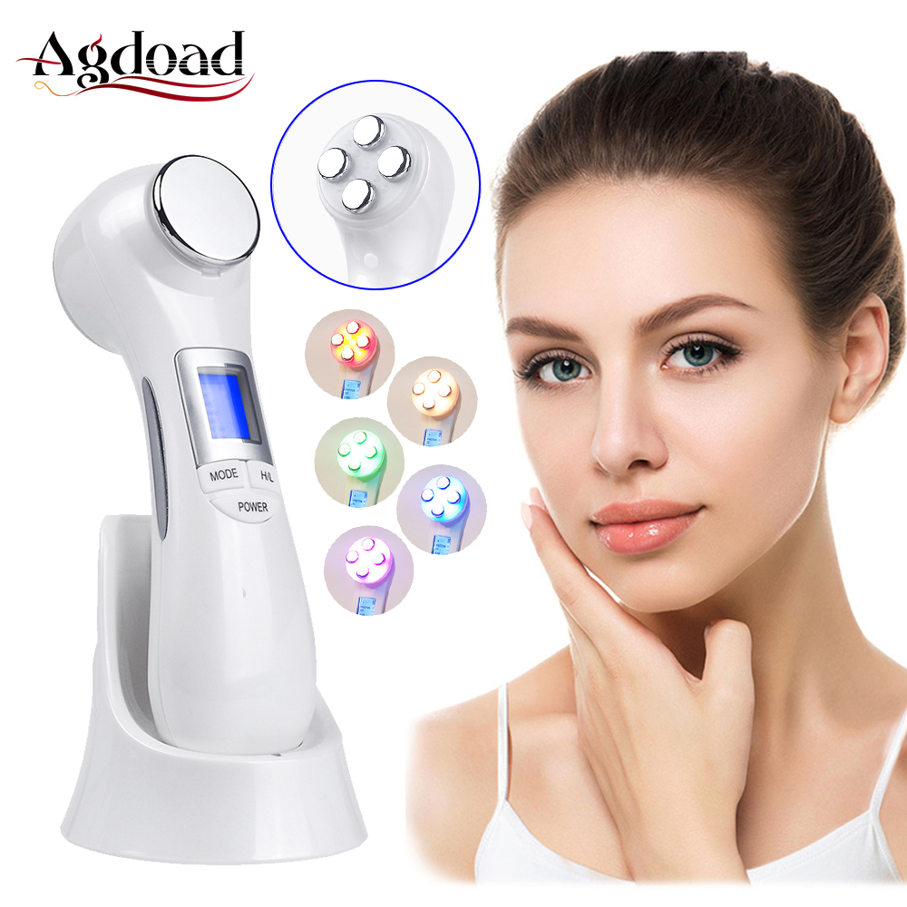 6 In 1 Dual Head Photon RF EMS Beauty Instrument Ultrasonic Vibration Ion Face Massager Face Lifting Machine LED Skin Care Tool