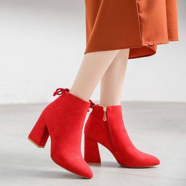 Lucyever 2019 jesienno zimowa moda damska klamra botki Casual sztuczny zamsz szpiczasty nosek grube szpilki buty imprezowe kobieta