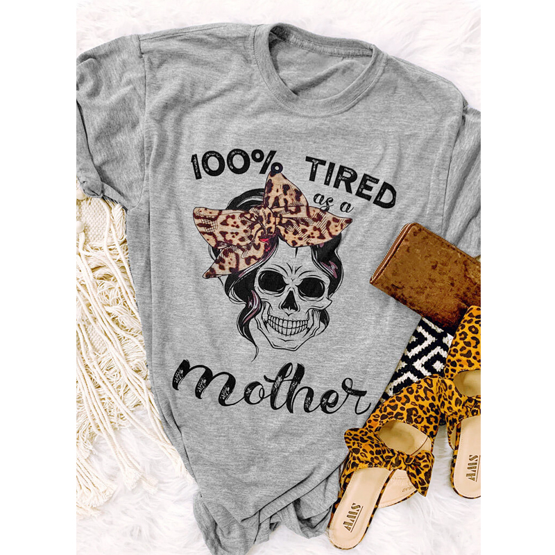 100% футболка с принтом уставших, как мама, с цветным принтом, Забавный Череп, мама, жизнь, футболка, повседневная женская футболка, подарок на ...
