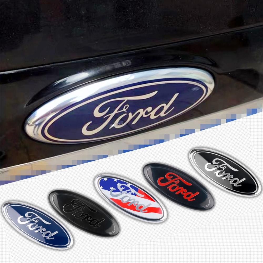 1PCS 175Mm/227Mm Car Emblemด้านหน้าด้านหลังโลโก้Bonnet Hood TrunkสำหรับFord Fiesta ST Ranger Focus 2 3 C X Max KAฯลฯ