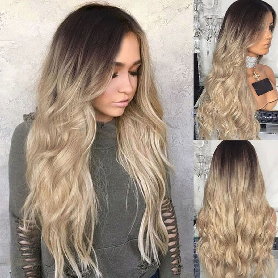Ombre Light Ash Blonde Transparent Lace Full Lace Human Hair Wigs Pre Plucked 13x6 Deep Part Lace Front Wigs With Baby Hair