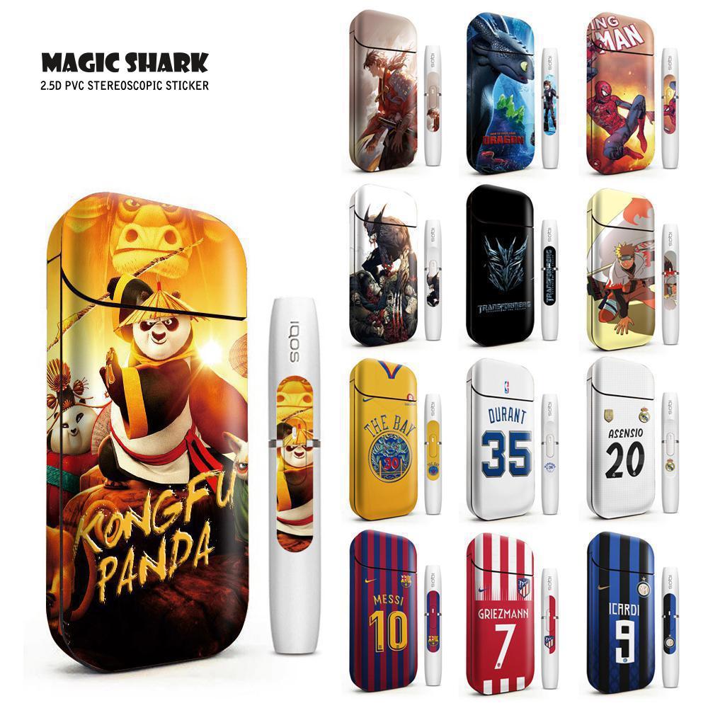Magic Shark Messi The Bay Transformers Naruto Spiderman Kongfu Panda Sticker Film For IQOS 2.4 Plus Cover Skin Case Sticker