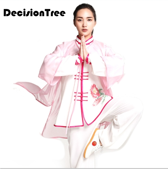 2019 Chinese Tai Clothing Elegant Single Shawl Gradient For Men And Women Jiu Jitsu Wushu Kung Fu Uniform Tai Chi Suit