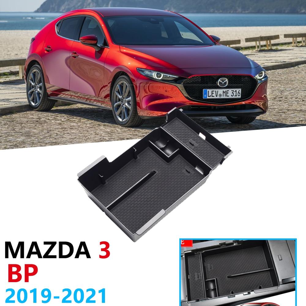 Car Organizer Accessories For Mazda 3 2019 2020 2021 BP Mazda3 Sedan Hatchback Armrest Box Storage Coin Box Card Anti-Slip Mat