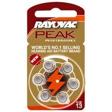Hearing Aid Batteries 6 PCS / 1 card RAYOVAC PEAK-A13/PR48/S13 Zinc Air batterie 1.45V  Size 13 Diameter 7.9mm Thickness 5.4mm