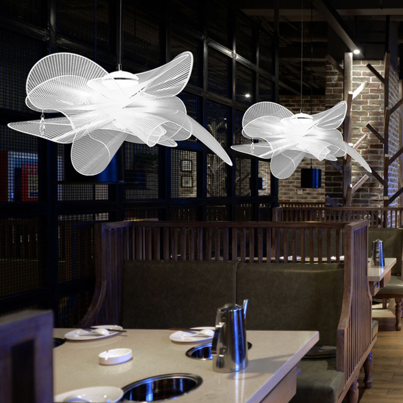 Post-modern LED Petal Acrylic Pendant Lights Lighting Mesh Pendant Lamp Dining Living Room Bedroom Restaurant Decor Hanging Lamp