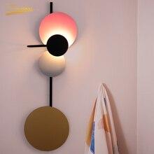Nordic Circular LED Wall Lamp Modern Wrought Iron Macaron Creative Background Decorative Wall Lights Loft Living Room Wall Lamps цена 2017