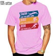 T-shirt pour Triathlon Ru, en coton biologique, taille à la mode