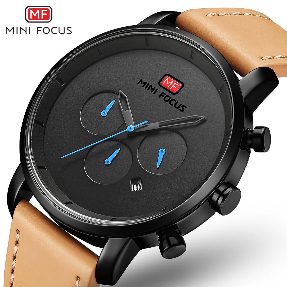 MINI FOCUS Watches Mens 2019 Fashion Quartz Sport Watches For Men Multi-function Slim Men's Watch Leather Watch Men Wristwatch